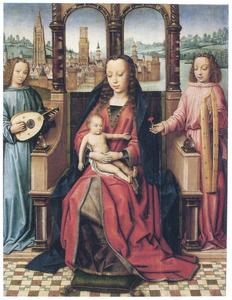 Maria met kind en musicerende engelen. In de achtergrond een gezicht op Brugge