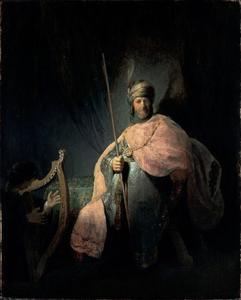 David speelt harp voor koning Saul