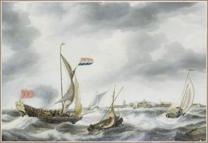 Schepen op het Hollands Diep voor Willemstad