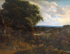 Uitgestrekt boslandschap met enkele figuren op een weg