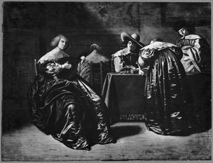 Interieur met een tritrakspelend gezelschap en musicerende jonge vrouwen