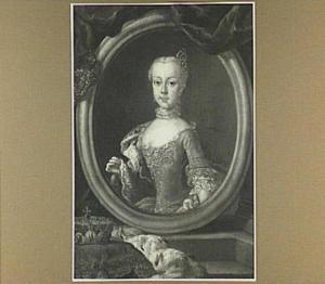 Trompe l'oeil met portret van een voorname jonge vrouw, mogelijk Anne van Habsburg (1738-1789)