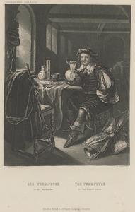 Interieur met een pijp rokende soldaat