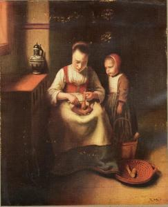 Vrouw die wortels raspt, met een toekijkend kind
