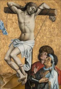 De slechte moordenaar aan het kruis met toeschouwers