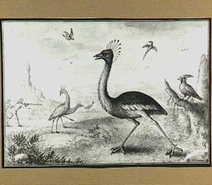 Heuvellandschap met vogels en jagers