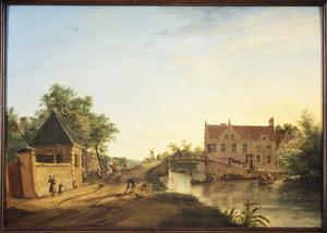 Het Huis Burchvliet en de Nieuwe Tolbrug bij Rijswijk, gezien vanuit het noordoosten