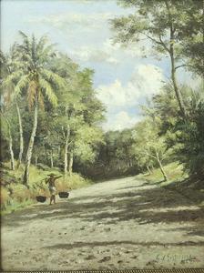 Zandweg met bomen met een Javaan met pikulan, Java