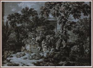 Arcadisch landschap met offerende figuren