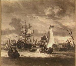 Bezoek van Tsaar Peter de Grote aan het V.O.C.-fregat 'Peter en Paul' op het IJ voor Amsterdam, 1697