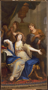 Ester leest het decreet dat de dood van de joden beveelt (Ester 4:8-9)