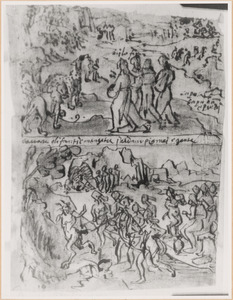 Schetsboekblaadje met twee voorstellingen uit het leven van Apollonius vanTyana