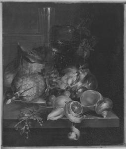 Stilleven met roemer en fluitglas op een stenen blad