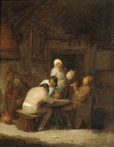 Rokende en drinkende boeren in een interieur
