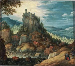 Landschap met een kasteel op een rots en de Emmaus gangers