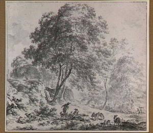Landschap met herders bij een ruïne (kasteel Brederode?)
