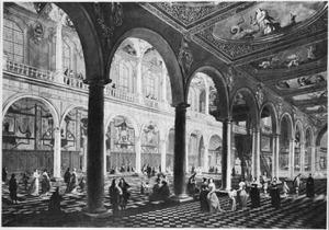 Interieur van een barokkerk, mogelijk de Jezuitenkerk H. Carolus Borromeus te Antwerpen