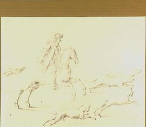 Jager te paard en vier jachthonden