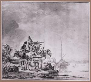 Drie mannen met paard en wagen op de oever van een rivier
