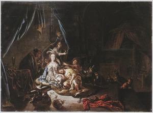 Simson, slapend in Delila's schoot worden de haren geknipt (Richteren 16:19)