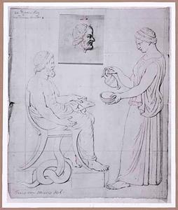 Asclepius en zijn dochter Hygieia, met op een los aangehecht blad het hoofd van Asclepius met de gelaatstrekken van de Leidse geleerde Hermannus Boerhaave, schoonvader van Frederik de Thoms, de toenmalige eigenaar van het reliëf