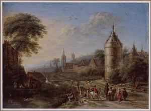 Landschap met jagers en boeren op een weg langs een kasteel