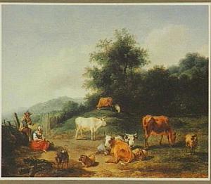 Zuidelijk landschap met twee herders en hun kudde