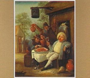 Drinkende en etende mannen voor een herberg