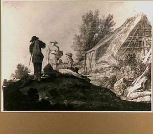Rustende boeren bij een vervallen boerderij