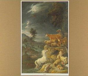 Landschap met de zondvloed, die de aarde en al wat leeft verzwelgt (Genesis 6:5-9 / 7)