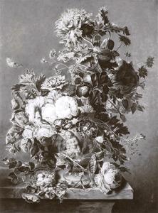 Bloemstilleven in een terracotta vaas op een balustrade