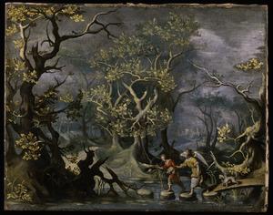 Landschap met Tobias, zijn hond en de engel op reis naar Ekbatana