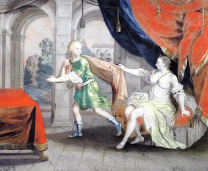 Jozef door Potiphars vrouw belaagd (Genesis 39:12)