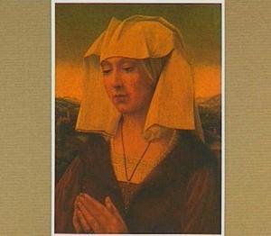 Portret van een vrouw in een landschap