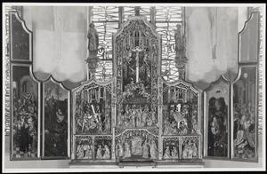 Het Laatste Avondmaal, de gevangenneming (binnenzijde linkerluik); De annunciatie, de visitatie, de Boom van Jesse, de aanbidding van het Christuskind, de besnijdenis, de kruisdraging, de kruisiging, de kruisafneming (middendeel); De tenhemelopneming, de uitstorting van de Heilige Geest (binnenzijde rechterluik)