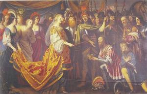 Koning Albrecht overhandigt de Zweedse kroon aan Koningin Margarethe I van Denemarken in 1389
