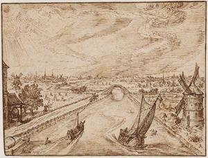 Rivierlandschap met molen, brug en stad op de achtergrond