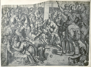 Vrouwen en soldaten aan de voet van het kruis
