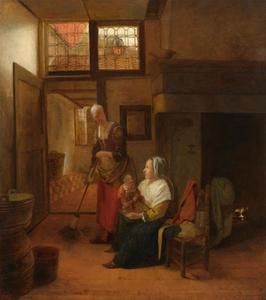Interieur met vrouw met kind op schoot en meid met bezem