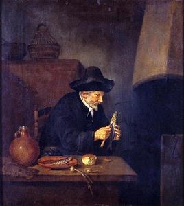 Interieur met oude man die haring schoonmaakt