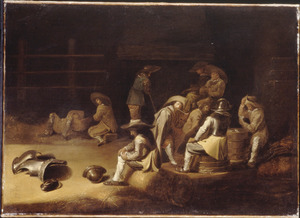 Kaartende en rokende soldaten in een wachtlokaal