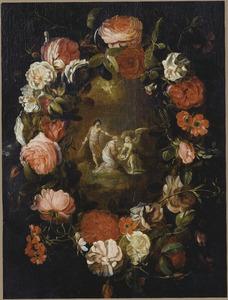 Bloemenkrans rond een voorstelling van het martelaarschap van de H. Dorothea