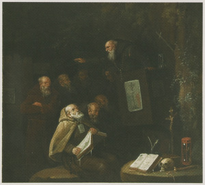 Een preek van monniken in een bos