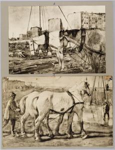 Werkpaarden bij bouwobject