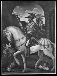 Allegorische voorstelling van een ridder te paard die een vorst vertrapt