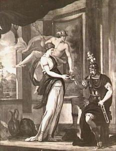 Circe dient Odysseus de toverdrank toe, maar Hermes ingrijpen verhindert de werking daarvan (Homerus X, 375