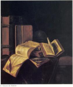 Stilleven met boeken en een globe