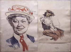 Twee schetsjes (vrouw met hoed + zittend paar)
