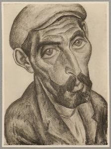 Portret van een visser met snor