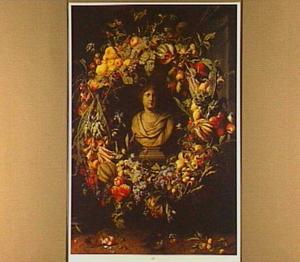 Borstbeeld van een vrouw (Ceres?) in een nis omgeven door een krans van vruchten